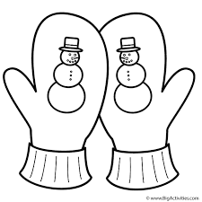 No doubt, most of the kids will welcome coloring sheets with a lot of enthusiasm. Crossed Mittens With Snowman Coloring Page Clothing