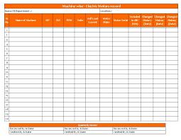 Electric Motors Record Sheet
