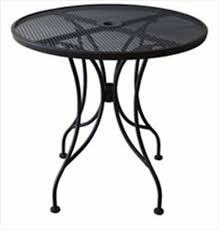 patio furniture with umbrella hole comfy mesh top steel outdoor round table top osodr