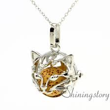 fox ball openwork essential oil necklace aromatherapy jewelry whole diffuser necklaces diffuser necklace diy metal volcanic