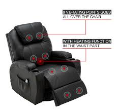 modern massage recliner chair vibrating sofa heated pu leather ergonomic lounge 360 degree swivel rocker 8031