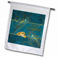 3dRose fl_52264_1 Peacock Just Married Wedding Rings in Teal and Gold Garden Flag, 12 by 18-Inch