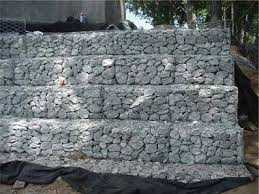 Typical 6 ft gabion wall - 4.5 ft bottom course & 3 ft top course - 5-6  degree batter