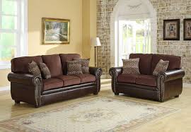 attractive chocolate sofa living room ideas brown leather arms sofa set beige damask fabric area rug