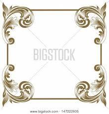antique frame border. Golden Vintage Frame, Baroque Scroll Ornament Engraving Antique Frame Border E