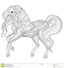 Hand Drawn Zentangle Horse For Adult Coloring Page, Art Therapy ...