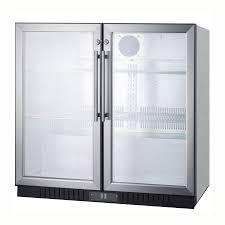 summit scr7012dcss 36 2 section bar refrigerator swinging glass doors 115v