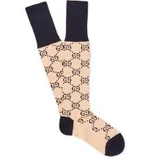 gucci 3806. newsest gucci monogrammed jacquard-knit stretch cotton-blend socks ecru men selling 3806