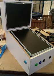 audio wasn t a consideration when the cabinet was drawn so i made no allowances under the backgl for speakers the playfield monitor has an inbuilt
