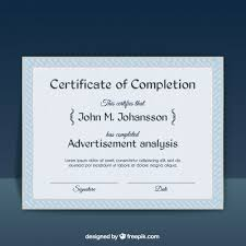 free certificate of completion template certificate of completion template vector free download