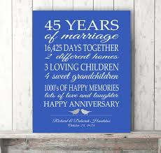 45th anniversary gift ideas 45th wedding anniversary gift ideas for pas creative 45th anniversary gift
