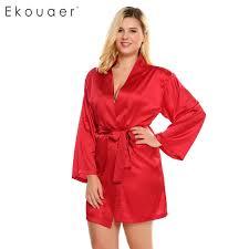 plus size robes ekouaer plus size robe womens satin kimono robe long sleeve belted