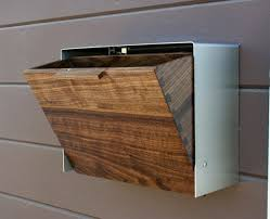 modern mailbox etsy.  Mailbox Modern Mailbox Large Walnut And Stainless Steel Mailbox Wall Mounted  For Etsy