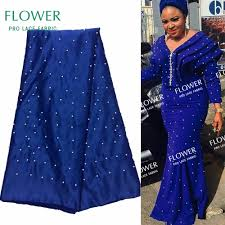 Blue African Dress Designs Us 39 9 50 Off Blue African Satin Lace Fabric Beaded Nigerian Women Evening Dress Designer Fabrics Indian African Satin Fabrics Free Shipping In