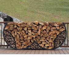 firewood log rack with kindling wood holder double round