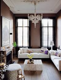 Wall Hanging For Living Room Contemporary Living Room With Dark Brown Wall Color And White