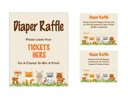 raffle sign woodland diaper raffle ticket printable diaper raffle sign