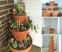 how to make a fairy garden pot tower
