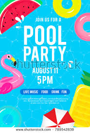 Pool Party Invitation Vector Illustration Top – Stock Vektor ...