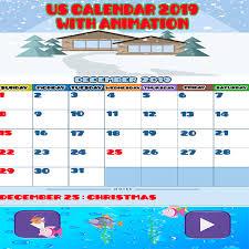 Us Calendar With Animation And Holidays 2019 Amazon De Apps Für