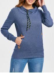 <b>Pocket Design Embroidered Drawstring</b> Hoodie in Purplish Blue M ...