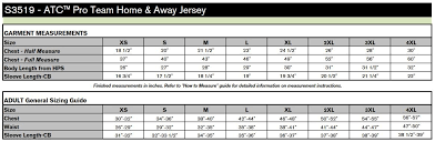 Atc Clothing Size Chart Atc Pro Team Home Away Jersey S3519