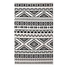 haku geometric moroccan tribal 8 10 area rug in black and white mae s interiors