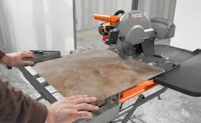 ridgid 10 inch wet tile saw in use stock