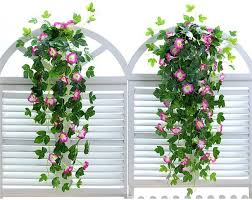 2019 2 wall hanging morning glory flower vines one vase artificial rose vine wall mounted flowers bracket plants for wall decoration from igarden001