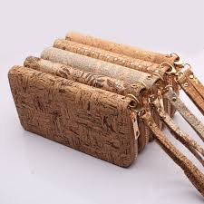 mbcork cork flower patterned beige wallet purse handle clutch women vegan non leather bag 324 a