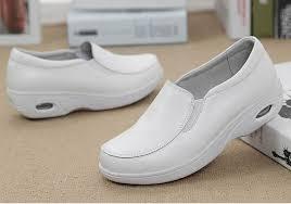 new genuine leather women white nurse shoes las casual platform flats comfortable massage flats for women doctor work shoes