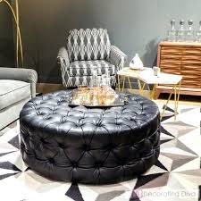 round black leather ottoman fabulously chic benches stools ottomans love decorating diva black leather square ottoman coffee table