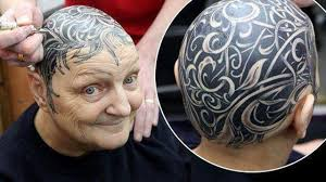 топ 25 самые безумные тату на голове блекворк дотворк биомеханика