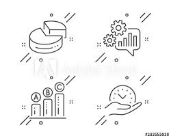 Safe Circle Chart Cogwheel Pie Chart And Graph Chart Line Icons Set Safe
