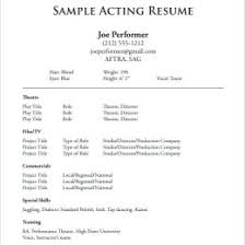 Performer Cv Template Musical Theatre Audition Resume Word Theater