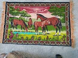 55x36 vintage tapestry wall hanging rug horses