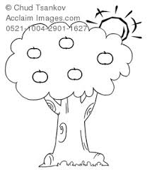 apple tree clipart black and white. clipart illustration of black and white apple tree in the sun