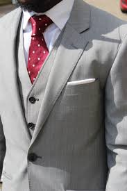 Light Grey Suit With Burgundy Tie Three Piece Suit Yes Its A Must Yinka Jermaine