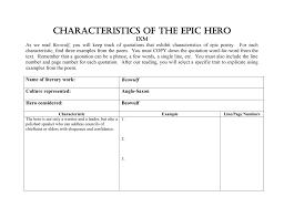 Beowulf Characteristics Of An Epic Hero Chart Characteristics Of The Epic Hero 1xm
