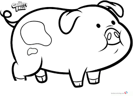 Gravity Falls Coloring Pages Pig Waddles Free Printable Coloring Pages
