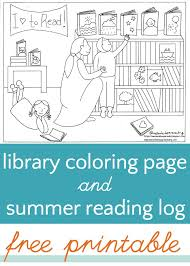 Library Coloring Page And Summer Reading Log