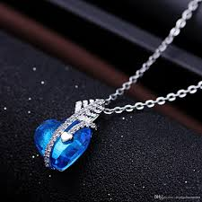 whole high quality silver necklace blue stone love heart pendant jewelry charm style party and wedding gift for women locket necklace mens necklaces