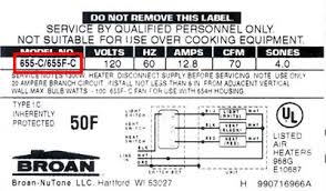 locate model numbers broan combination fan light bath fan label placement