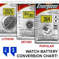 Button Cell Equivalent Chart Watch Battery Cell Conversion Chart Jewelry Secrets