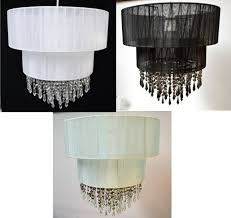 voile pendant shades 2 tier jewelled acrylic white or duck egg quality