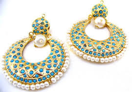 ar jewels chandelier designer gold plated feroza beads carved pearls earrings