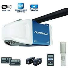chamberlain 1 1 4 hps smartphone controlled wi fi belt drive garage door opener with battery backup and ultra quiet operation