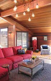 furnish a living room with a red sofa