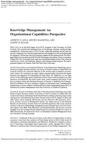 Organizational Ability Pdf Knowledge Management An Organizational Capabilities Perspective