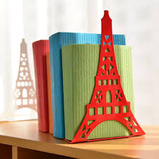 2pcs pair korean large fashion bookshelf metal bookend eiffel tower desk holder stand for books